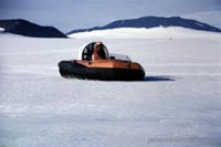 Tiger 4 hovercraft as used in the 70s by the British Antarctic Survey - Flying over the ice where no vehicle can go (Malcolm Hole).
